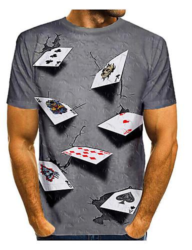 preiswerte Herrenmode-Herren T-Shirt 3D-Druck Grafik 3D Druck Kurzarm Alltag Oberteile Purpur Gelb Blau