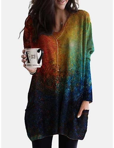 billiga Damklänningar-Dam Skiftklänning Knälång klänning Blå Grön Långärmad Tryck Färggradient Tryck Höst V-hals Ledigt 2021 S M L XL XXL 3XL