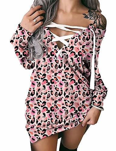 preiswerte Damenmode-Damen Etuikleid Minikleid Rosa Langarm Leopard mit Schnürung Patchwork Druck Herbst Winter Schulterfrei Sexy 2021 S M L XL XXL 3XL / Übergrössen