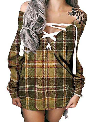 cheap Women's Clothing-Women's Shift Dress Short Mini Dress Khaki Long Sleeve Plaid Print Fall Summer Off Shoulder Hot Sexy 3D Print S M L XL XXL 3XL
