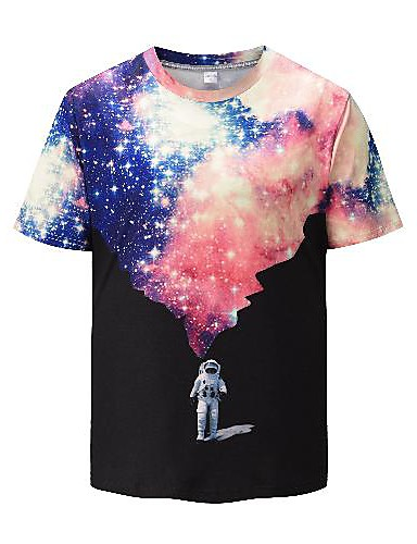 cheap Men's Clothing-Men's T shirt 3D Print Graphic 3D Print Short Sleeve Going out Tops Rock Exaggerated Black