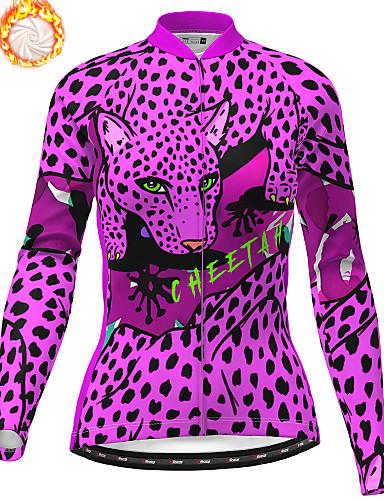 Women Cycling Jersey Leopard Team Bike Short Sleeve Bicycle Clothing T-Shirt Top