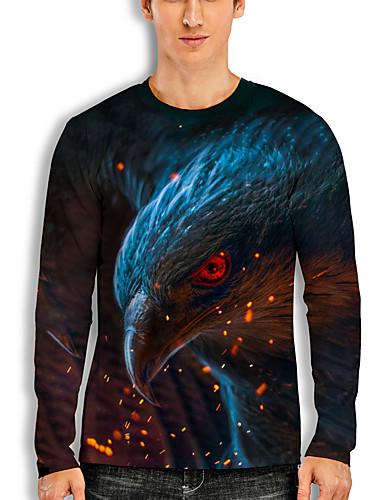 billige Herreklær-Herre T skjorte 3D-utskrift Grafisk Dyr Trykt mønster Langermet Daglig Topper Grunnleggende Fritid Svart