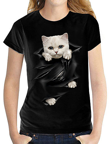 billiga Damöverdelar-Dam T-shirt Katt Grafisk 3D Tryck Rund hals Blast 100 % bomull Grundläggande Grundläggande topp Vit Svart