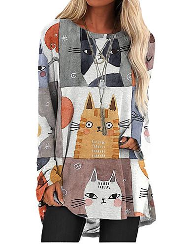 cheap Women's Clothing-Women's T Shirt Dress Tee Dress Short Mini Dress Long Sleeve Cat Animal Print Fall Spring Casual 2021 Gray S M L XL XXL 3XL