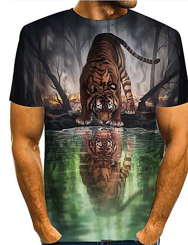 cheap Men's Clothing-Men's T shirt 3D Print Graphic 3D Print Short Sleeve Casual Tops Simple Classic Green