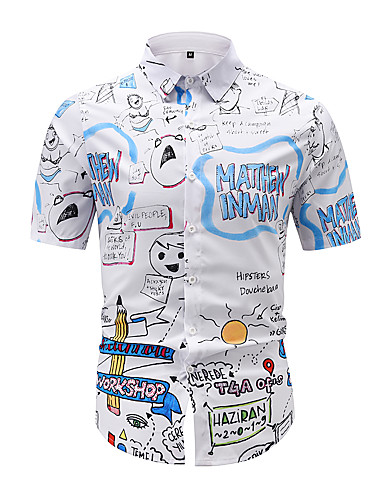 cheap Men's Clothing-Men's Shirt 3D Print Graphic 3D Print Short Sleeve Casual Tops Cartoon White