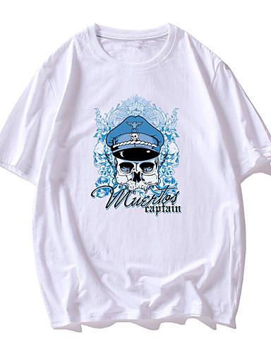cheap Men's Clothing-Men's T shirt 3D Print Graphic Skull Print Short Sleeve Daily Tops Basic Casual White Black Red