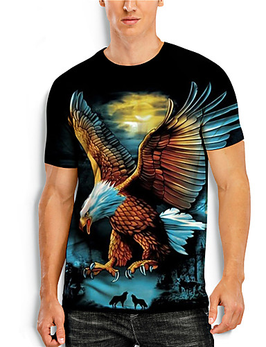 cheap Men's Clothing-Men's T shirt 3D Print Graphic Animal Plus Size Print Short Sleeve Daily Tops Basic Casual Black Blue Orange