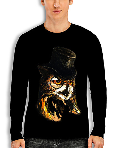 cheap Men's Clothing-Men's T shirt 3D Print Graphic Eagle Animal Print Long Sleeve Daily Tops Basic Casual Black