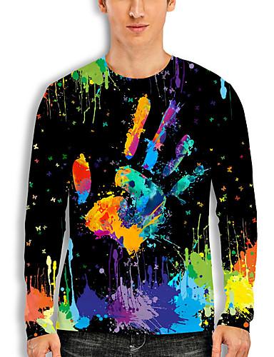 cheap Men's Clothing-Men's T shirt 3D Print Graphic Print Long Sleeve Daily Tops Basic Casual Black