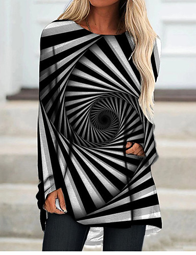 cheap Women's Clothing-Women's T Shirt Dress Tee Dress Short Mini Dress Black Long Sleeve Color Block Geometric Print Fall Spring Round Neck 3D Print Casual 3D Print S M L XL XXL 3XL