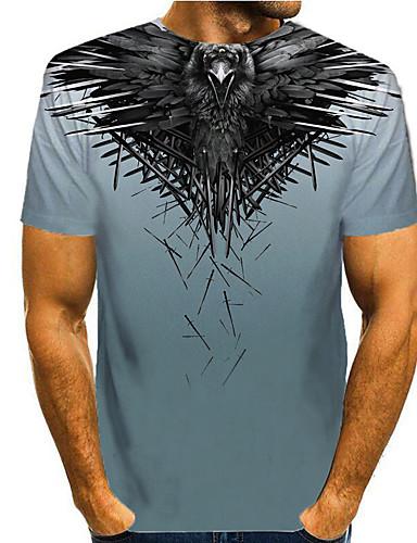 cheap Men's Clothing-Men's T shirt 3D Print Graphic 3D Animal Print Short Sleeve Casual Tops Simple Classic Blue