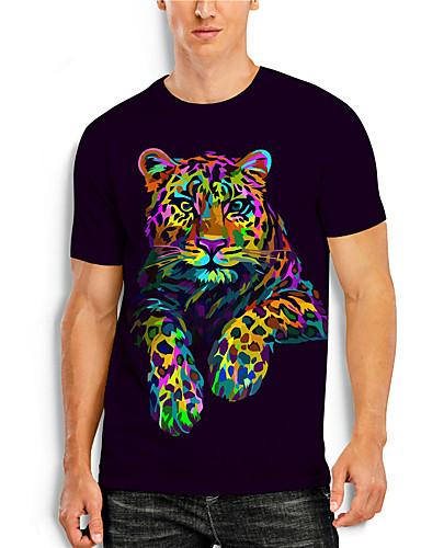 billige Herreklær-Herre T skjorte 3D-utskrift Grafisk 3D Dyr Trykt mønster Kortermet Avslappet Topper Enkel Klassisk Regnbue
