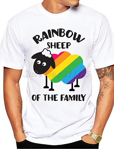 cheap Men's Clothing-Men's T shirt 3D Print Graphic Sheep Rainbow 3D Print Short Sleeve Daily Tops Casual Sports White
