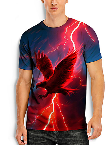 cheap Men's Clothing-Men's T shirt 3D Print Graphic Animal Print Short Sleeve Daily Tops Basic Casual Red