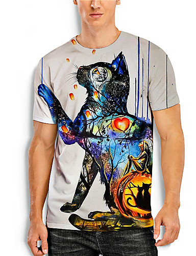 cheap Men's Clothing-Men's T shirt 3D Print Graphic 3D Animal Print Short Sleeve Casual Tops Simple Classic Rainbow