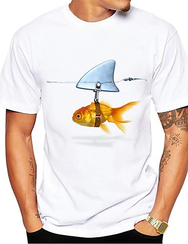 cheap Men's Clothing-Men's T shirt 3D Print Graphic Fish Animal Print Short Sleeve Daily Tops Casual Cute White