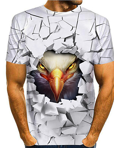 cheap Men's Clothing-Men's T shirt 3D Print Graphic Eagle Animal Print Short Sleeve Daily Tops Basic Casual White