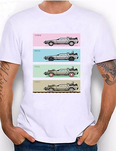 economico Abbigliamento uomo-Per uomo maglietta Stampa 3D Pop art Cartoni animati Auto Con stampe Manica corta Quotidiano Top Casuale Di tendenza Bianco