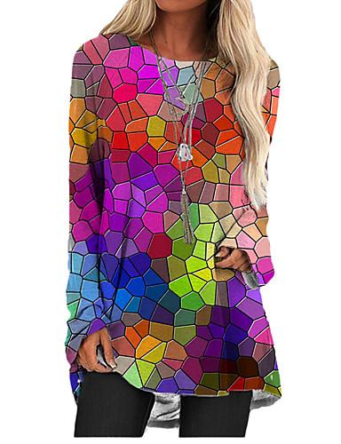 billiga Damklänningar-Dam T shirtklänning Kort miniklänning Regnbåge Långärmad Tryck Färgblock Tryck Höst Vår Rund hals 3D-tryck Ledigt 3D-tryck S M L XL XXL 3XL