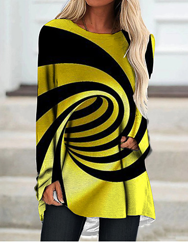 cheap Women's Clothing-Women's T Shirt Dress Tee Dress Short Mini Dress Yellow Long Sleeve Color Block Geometric Print Fall Spring Round Neck 3D Print Casual 3D Print S M L XL XXL 3XL