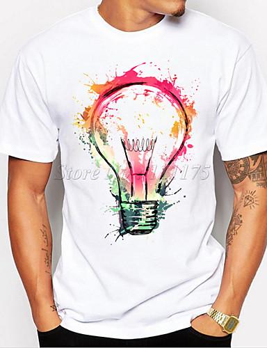 economico Abbigliamento uomo-Per uomo maglietta Stampa 3D Pop art lampadina Con stampe Manica corta Quotidiano Top Casuale Sportivo Bianco