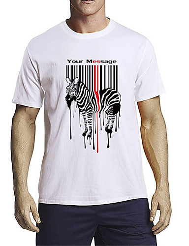 cheap Men's Clothing-Men's T shirt 3D Print Graphic Zebra Animal Print Short Sleeve Daily Tops 100% Cotton Casual Hip-Hop White Blue Red