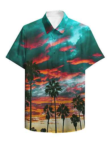 cheap Men's Clothing-Men's Shirt 3D Print Graphic Scenery Print Short Sleeve Daily Tops Basic Casual Green