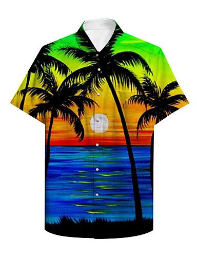 cheap Men's Clothing-Men's Shirt 3D Print Graphic Scenery Print Short Sleeve Daily Tops Basic Casual Rainbow