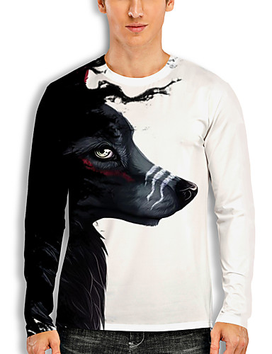 cheap Men's Clothing-Men's T shirt 3D Print Graphic 3D Animal Print Long Sleeve Casual Tops Cartoon Classic White