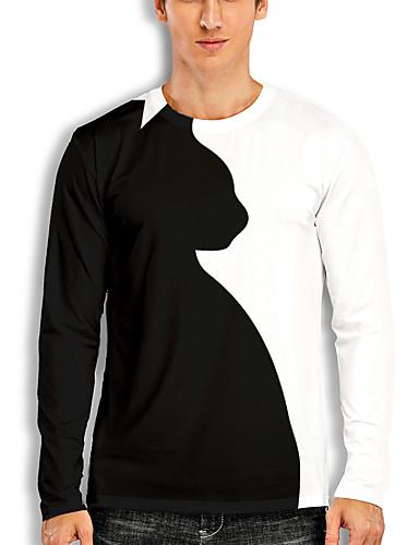 billige Herreklær-Herre T skjorte 3D-utskrift Grafisk 3D Dyr Trykt mønster Langermet Avslappet Topper Tegneserie Klassisk Hvit