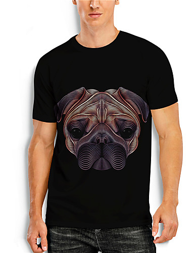 cheap Men's Clothing-Men's T shirt 3D Print Graphic 3D Animal Print Short Sleeve Casual Tops Simple Classic Black