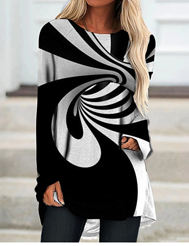 economico Abbigliamento donna-Per donna Abito a T shirt Mini abito corto Nero Manica lunga Monocolore Fantasia geometrica Con stampe Autunno Primavera Rotonda 3D Casuale Stampa 3D S M L XL XXL 3XL