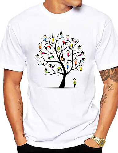 cheap Men's Clothing-Men's T shirt 3D Print Graphic Cartoon Tree Print Short Sleeve Daily Tops Casual Cute White