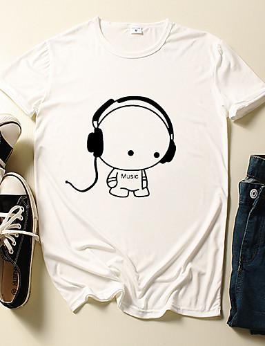 billige Herreklær-Herre T skjorte 3D-utskrift Grafisk Tegneserie Trykt mønster Kortermet Daglig Topper Fritid søt stil Hvit Svart Blå