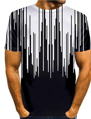 billige Herreklær-Herre T skjorte 3D-utskrift Grafisk 3D Trykt mønster Kortermet Avslappet Topper Enkel Klassisk Svart / Hvit