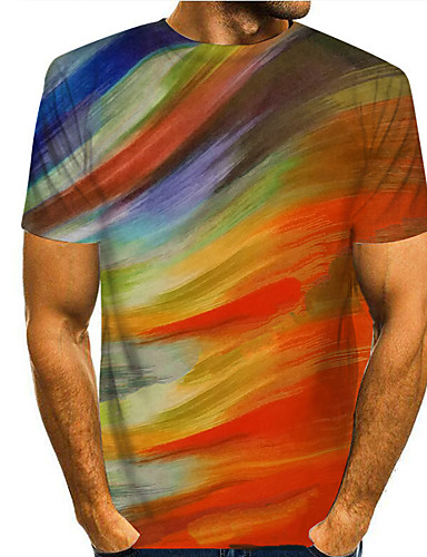 cheap Men's Clothing-Men's T shirt 3D Print Graphic 3D Print Short Sleeve Casual Tops Simple Classic Rainbow