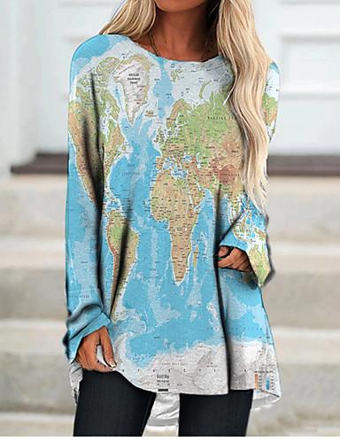 cheap Women's Clothing-Women's T Shirt Dress Tee Dress Short Mini Dress Blue Long Sleeve Color Block Geometric Print Fall Spring Round Neck 3D Print Casual 3D Print S M L XL XXL 3XL