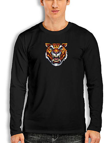 cheap Men's Clothing-Men's T shirt 3D Print Graphic Tiger Animal Print Long Sleeve Daily Tops Basic Casual White Black Red