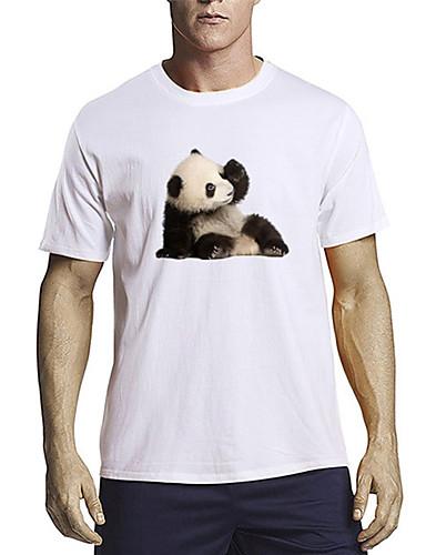 billige Herreklær-Herre T skjorte 3D-utskrift Grafisk Panda Dyr Trykt mønster Kortermet Daglig Topper 100 % bomull Fritid søt stil Hvit Svart Blå