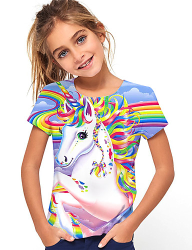 cheap Girls' Clothing-Kids Girls' T shirt Tee Short Sleeve Horse Unicorn Print Graphic 3D Causal Print Children Tops Active Rainbow 2-13 Years