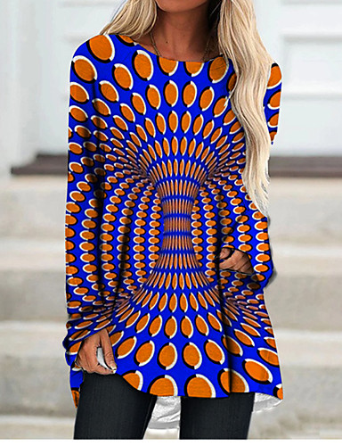 cheap Women's Clothing-Women's T Shirt Dress Tee Dress Short Mini Dress Orange Long Sleeve Color Block Paisley Geometric Print Fall Spring Round Neck 3D Print Casual 3D Print S M L XL XXL 3XL