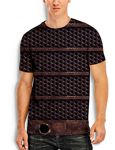 billige Herreklær-Herre T skjorte 3D-utskrift Grafisk 3D Trykt mønster Kortermet Avslappet Topper Enkel Klassisk Brun