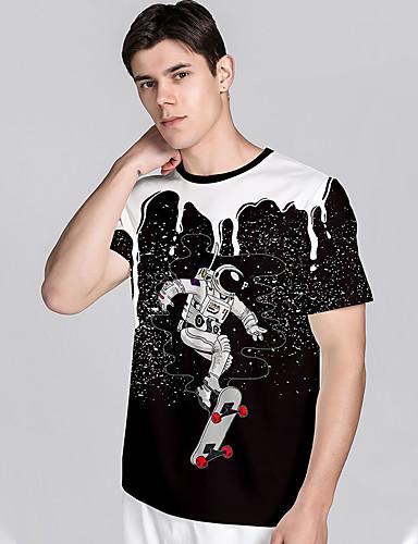billige Herreklær-Herre T skjorte 3D-utskrift Grafiske trykk Astronaut 3D-utskrift Kortermet Daglig Topper Fritid Strandstil Hvit Svart