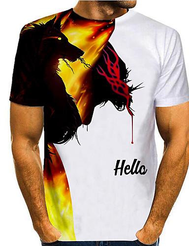cheap Men's Clothing-Men's T shirt 3D Print Graphic 3D Animal Print Short Sleeve Casual Tops Simple Classic White