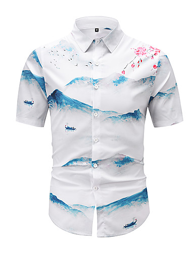 cheap Men's Clothing-Men's Shirt 3D Print Graphic 3D Print Short Sleeve Casual Tops Chinese Style Vintage White