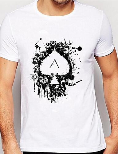 billige Herreklær-Herre T skjorte 3D-utskrift Grafisk Abstrakt Trykt mønster Kortermet Daglig Topper Fritid Sport Hvit