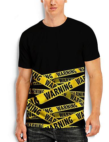 cheap Men's Clothing-Men's T shirt 3D Print Graphic 3D Print Short Sleeve Casual Tops Simple Classic Black