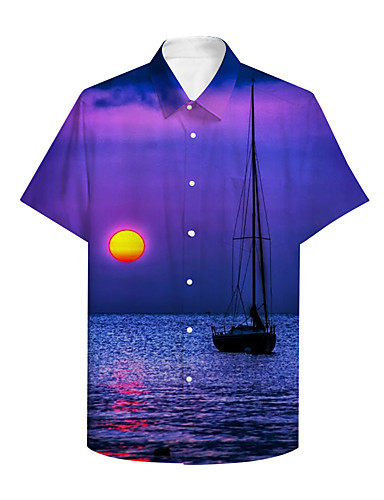 cheap Men's Clothing-Men's Shirt 3D Print Graphic Scenery Print Short Sleeve Daily Tops Basic Casual Purple